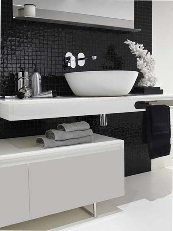 Charcoal Black Mosaic Tiles As Backsplash For This
