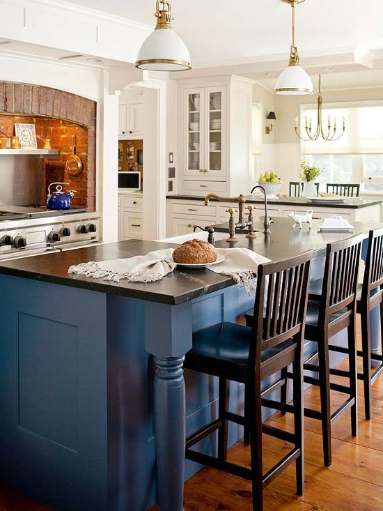 Color Combos Using Blue Blue Kitchen Island Kitchen