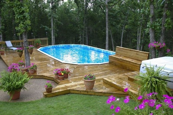 Cool Above Ground Pools With Decks Modern Backyard