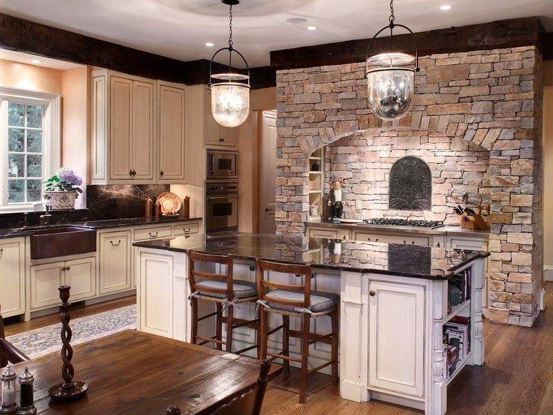 Country Kitchen With Kitchen Island Wood Counters Wall