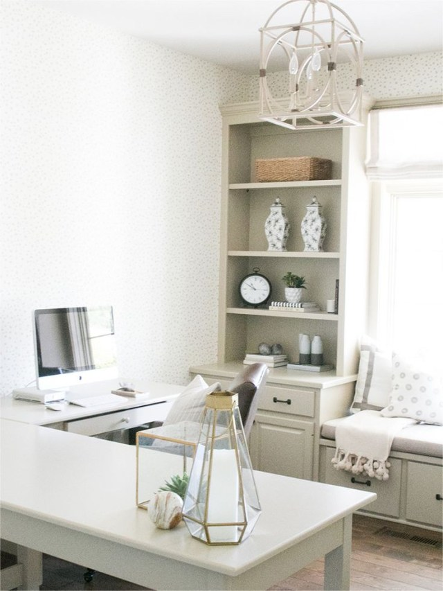 Cozy Office Design With L Shaped Desk And Window Seat