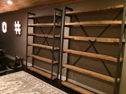 Custom Made Metal And Wood Bookshelves Wood Bookshelves