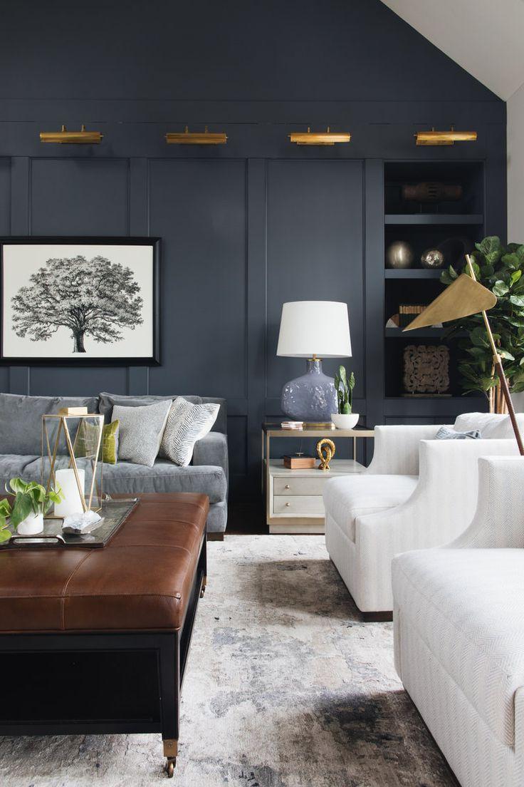 Dark Moody Living Room Dark Navy Gray Wall Brass