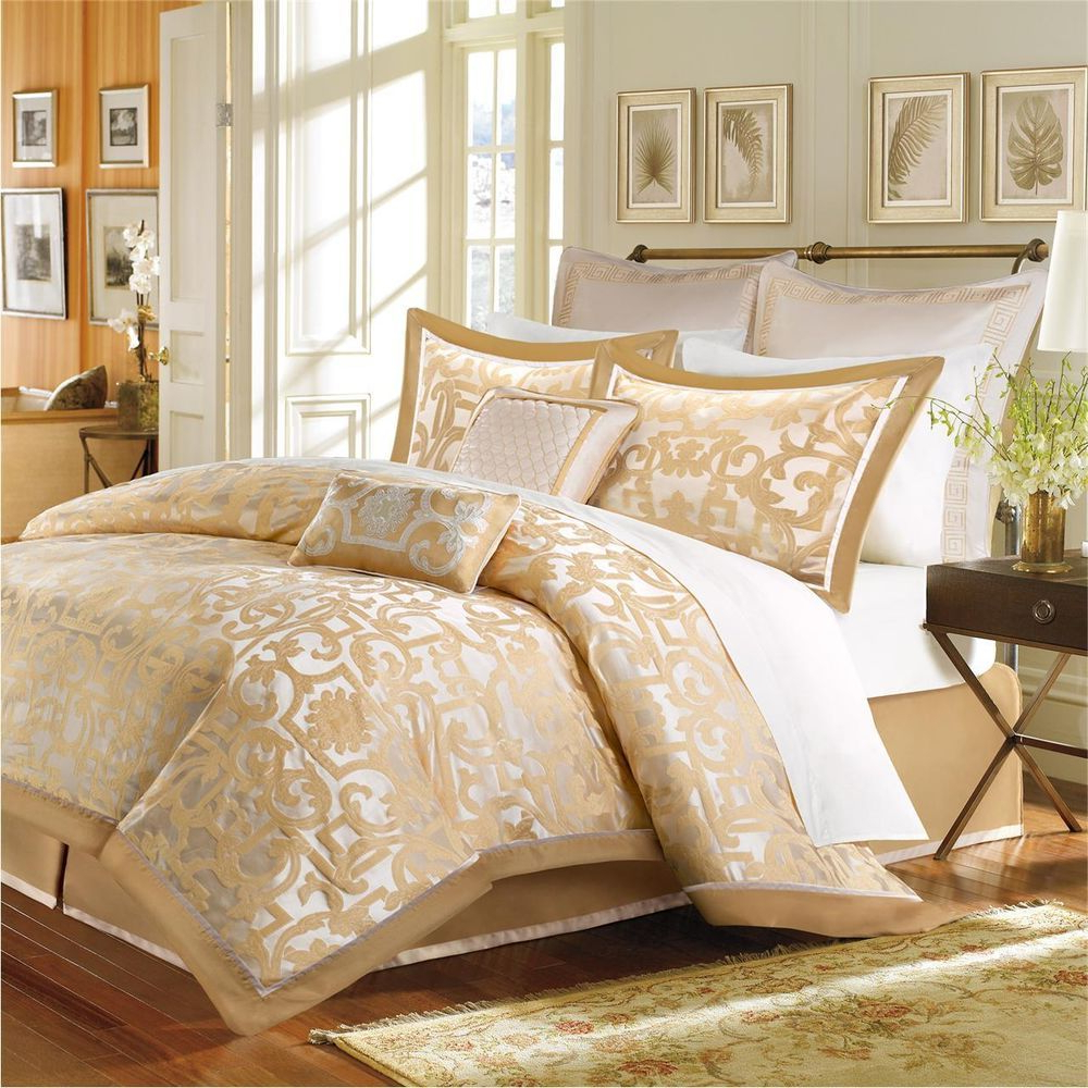 Details About Beautiful Elegant Luxury 8 Pc Gold Beige