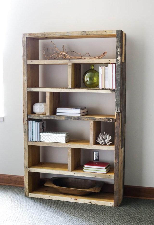 Diy Rustic Pallet Bookshelf Diy Bookshelf Plans