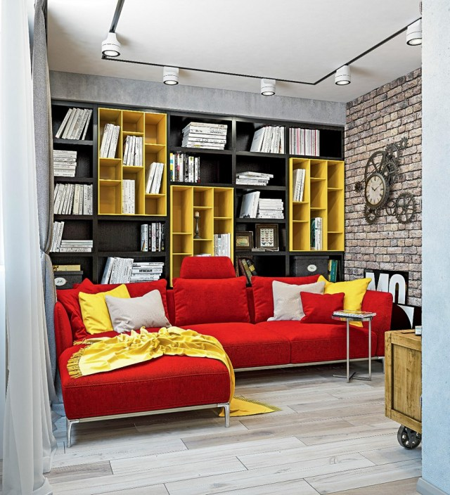 Dynamic One Room Apartment Interior For Young People