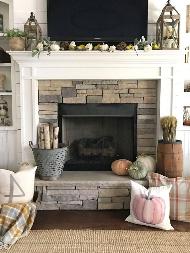 Fall Fireplace Mantel Decor Pumpkins Pumpkin Pillows