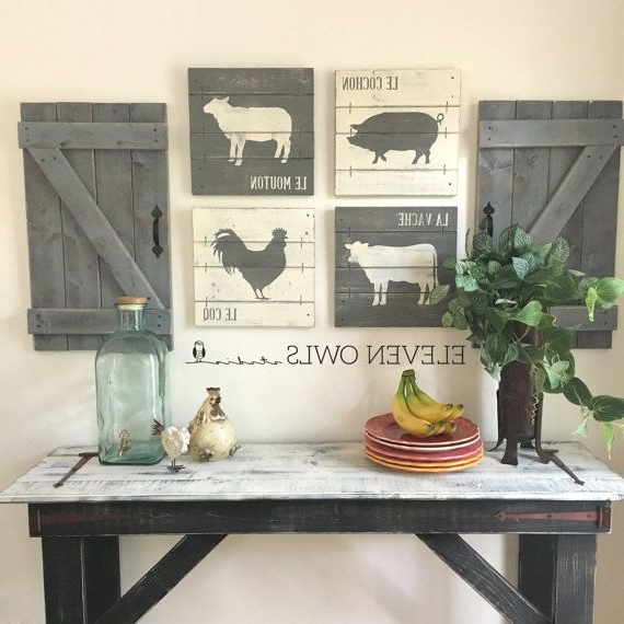 Farmhouse Animal Decor 4 Pcs Set Modern Farmhouse Wall