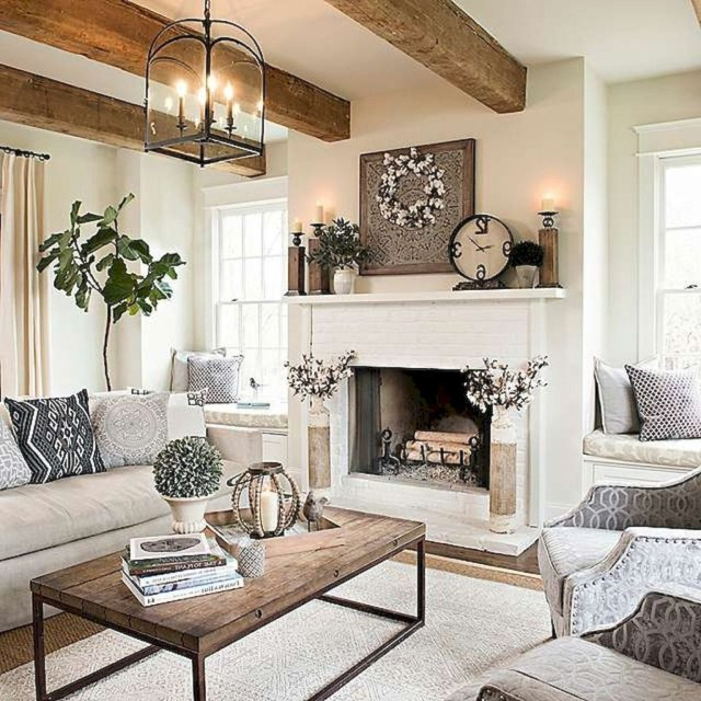 Farmhouse Living Room With Brown Leather Couch Rooms Decor