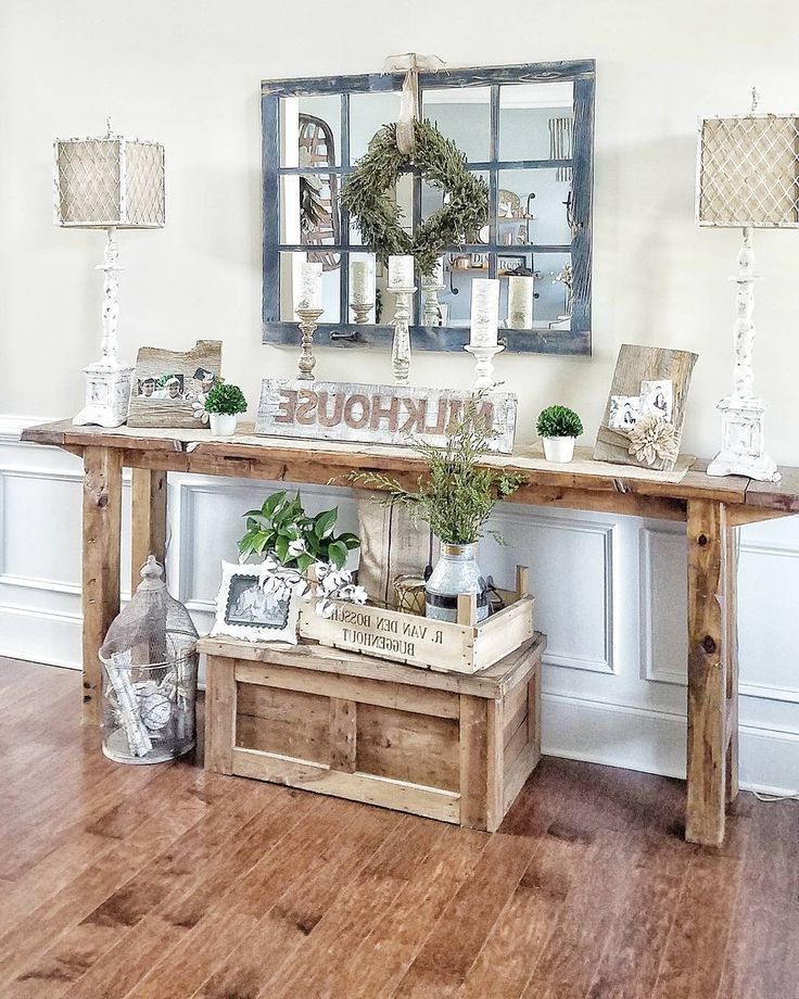 Farmhouse Style Console Table Rustic Narrow Table