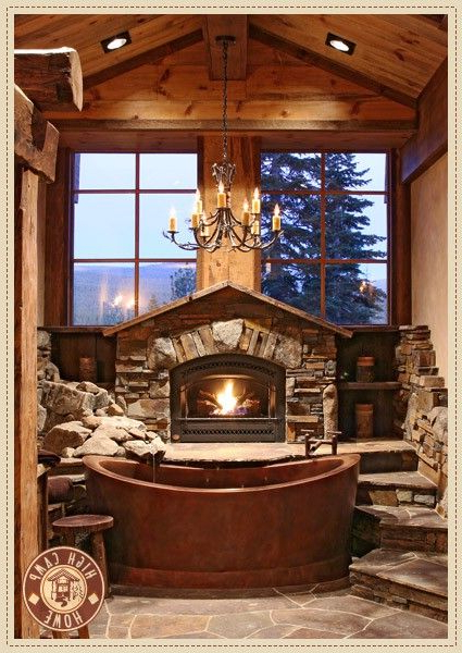 Fireplace Next To The Tub Beautiful For A Log Cabin Home