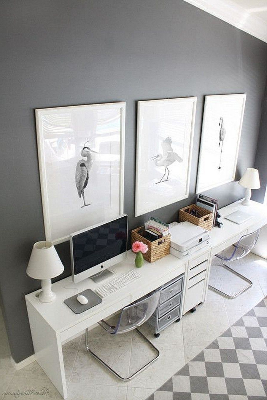 Ikea Micke Computer Workstation White In Gray Room With An