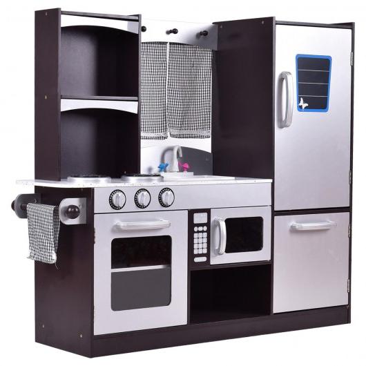 Kitchen Playset Kids Wood Refrigerator Little Chef