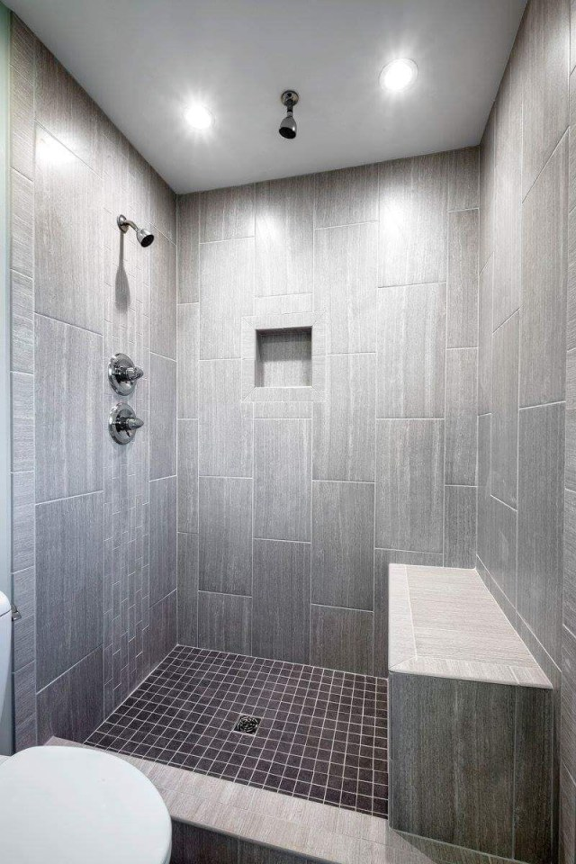 Leonia Silver Tile From Lowes Tiled Shower Bathroom