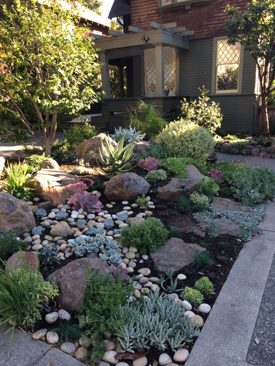 Like The Use Of Rocks And Succulents Front Yard