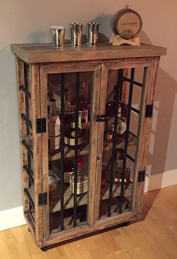 Liquor Cabinet Rustic Iron And Wood With Natural