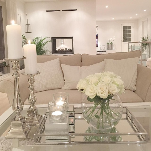 Living Room Light Clean Clear Candle Flowers Couch