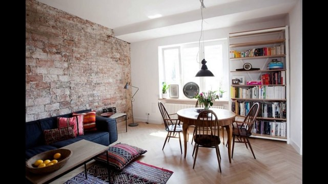 Living Room With Brick Wall Tiles Youtube