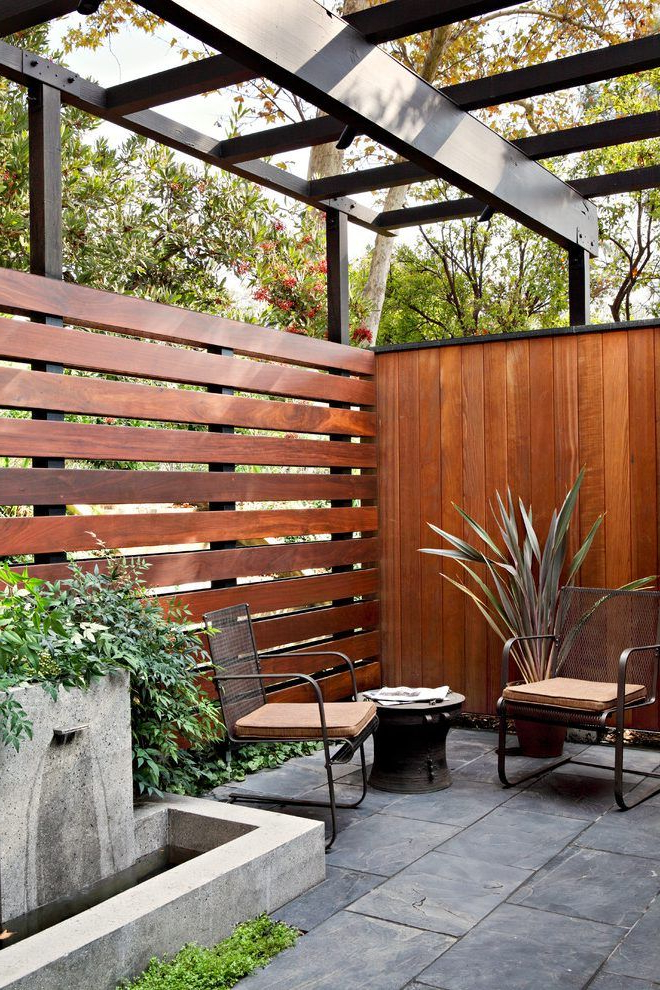 Los Angeles Horizontal Privacy Fence Patio Midcentury With