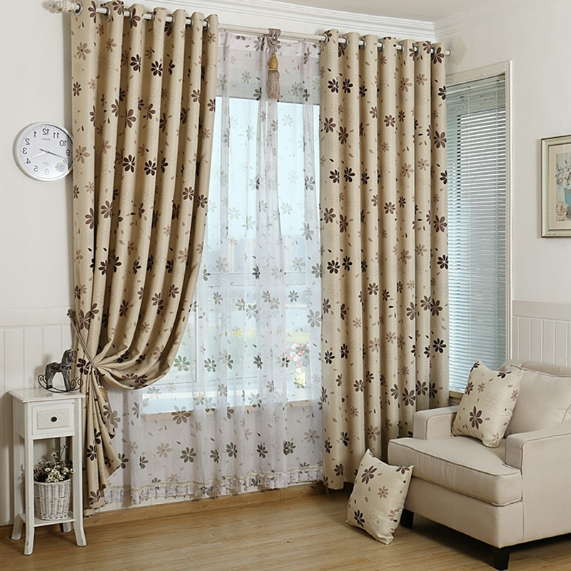 Luxury Modern Shade Blackout Flower Curtains For Living