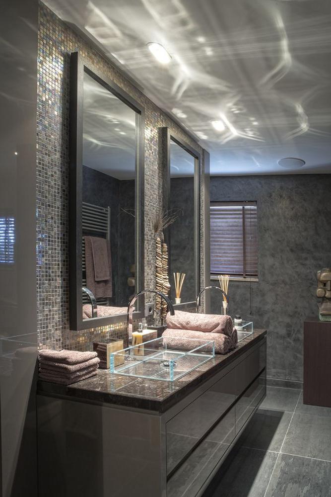 Masculine Bathroom Love The Glass Sinks Tile Behind