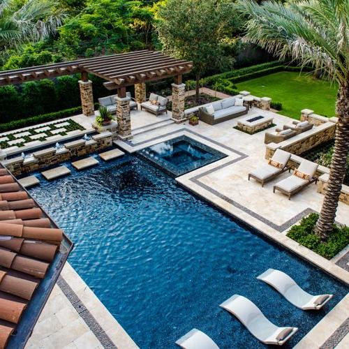 Mediterranean Plan Outdoor Swimming Pool Landscaping