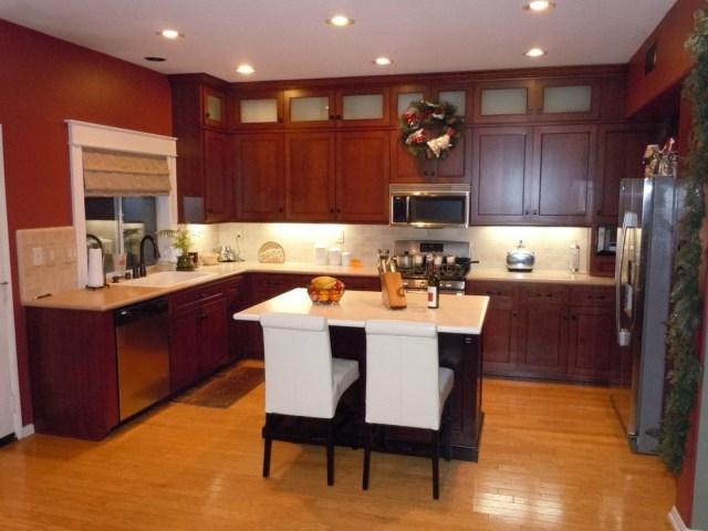 Mid Century Home Kitchen Design Ideas With Cherry Oak U