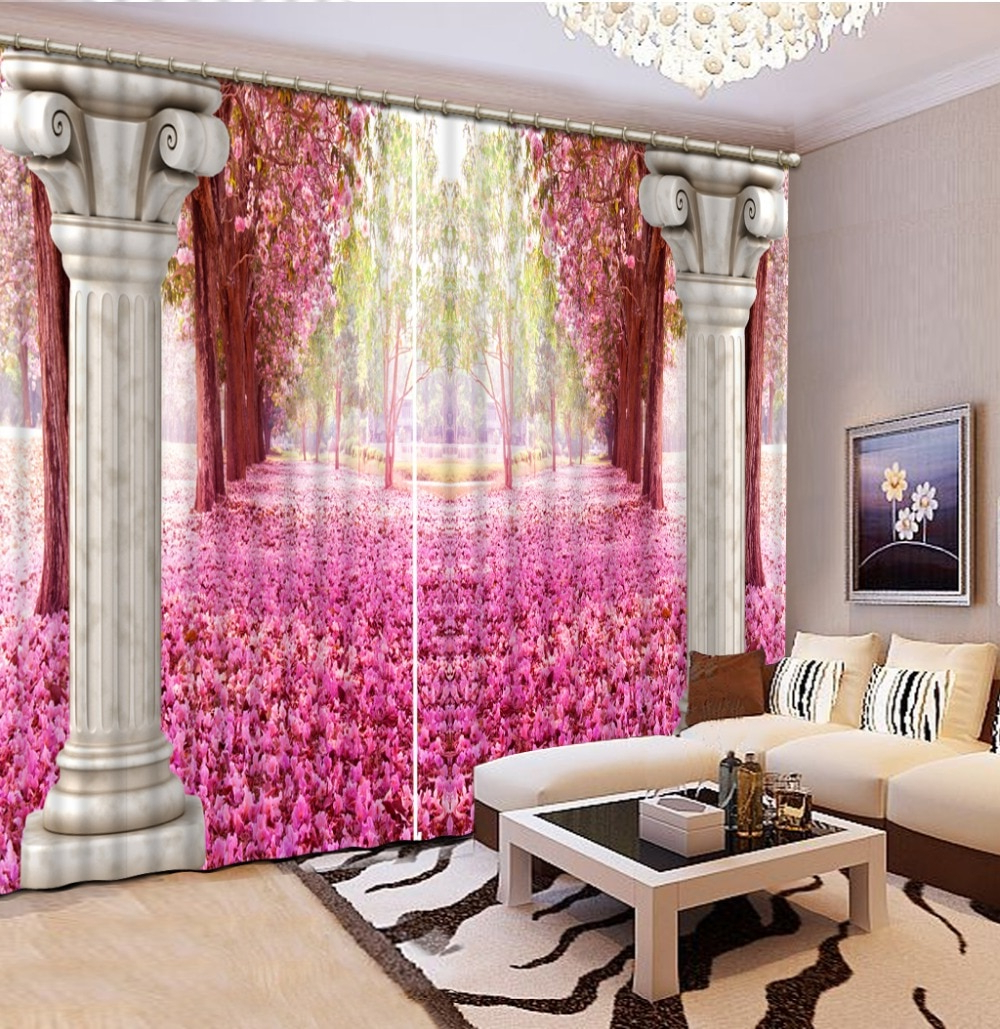Modern Curtains Flowers Window Treatments Living Room Cafe