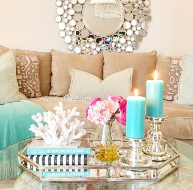 Modern Mirrored Hexagonal Tray Set With Gold Trim Home