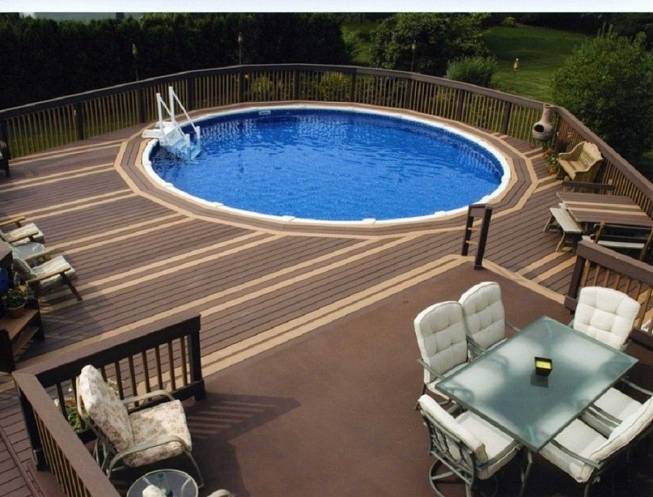 Modern Small Oval Above Ground Pool With Deck Designs For
