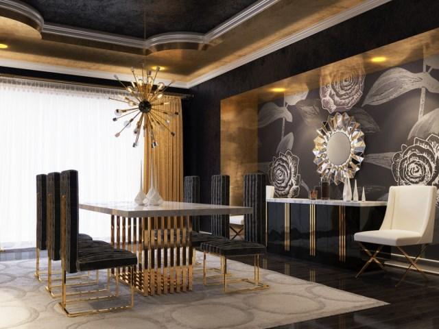 Modrest Kingsley Modern Black Rosegold Dining Chair Set