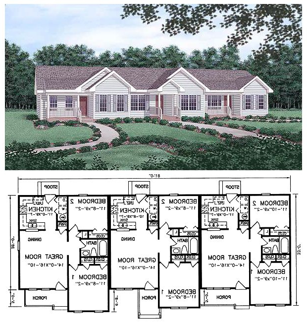 Multi Family Plan 45364 With 6 Bed 3 Bath With Images