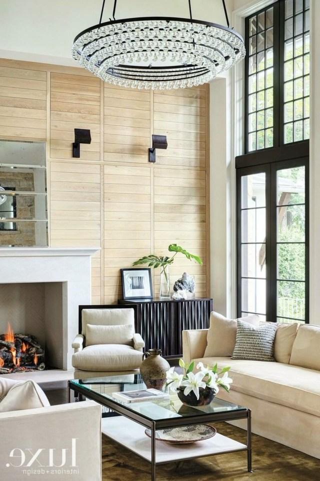 Neutral Living Room With Wood Slat Wall Minimalist