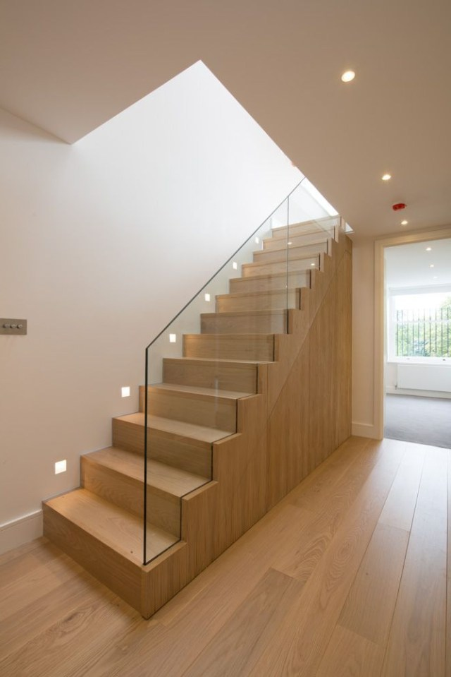 Oak Staircase With Frameless Glass Balustrade From Hallway