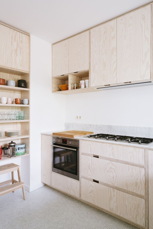 Pale Wood Scandinavian Inspired Modern Minimalist Kitchen