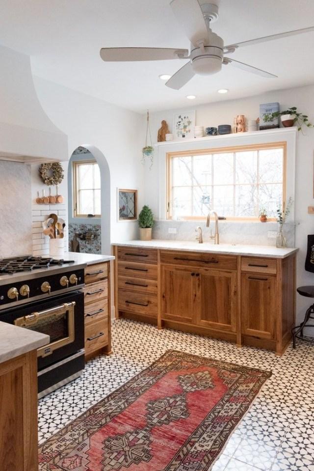 Patterned Tile Floor Modern Tudor Kitchen Patterned