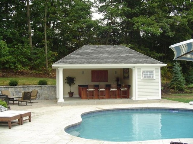 Pool House With Outdoor Patio Small Pool Houses Pool