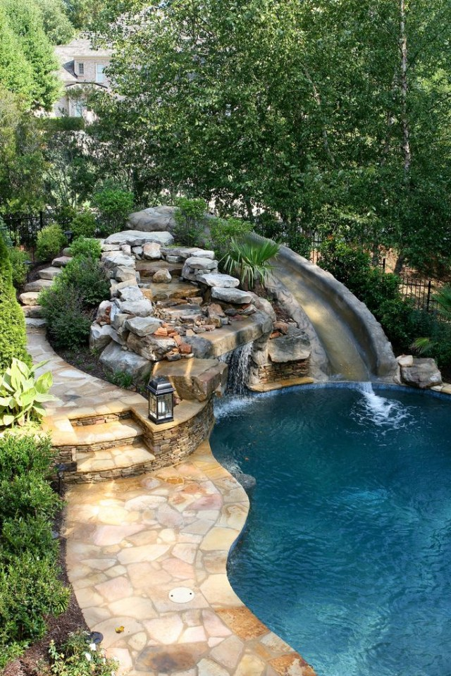 Pool With Slide Waterfall Grotto Cave Pool Landscaping