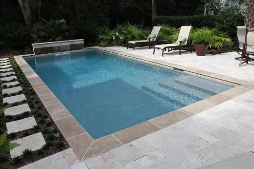 Rectangle Swimming Pool In Charleston Sc In Courtyard