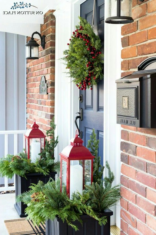Red Lantern And Evergreens Christmas Porch Decor Front