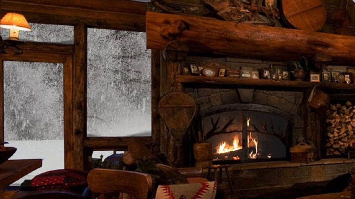 Relaxing Atmosphere Cozy Log Cabin Fireplace And
