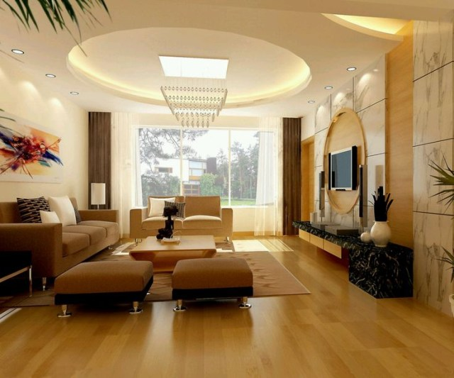 Round Pop Ceiling Designs For Modern Living Room With
