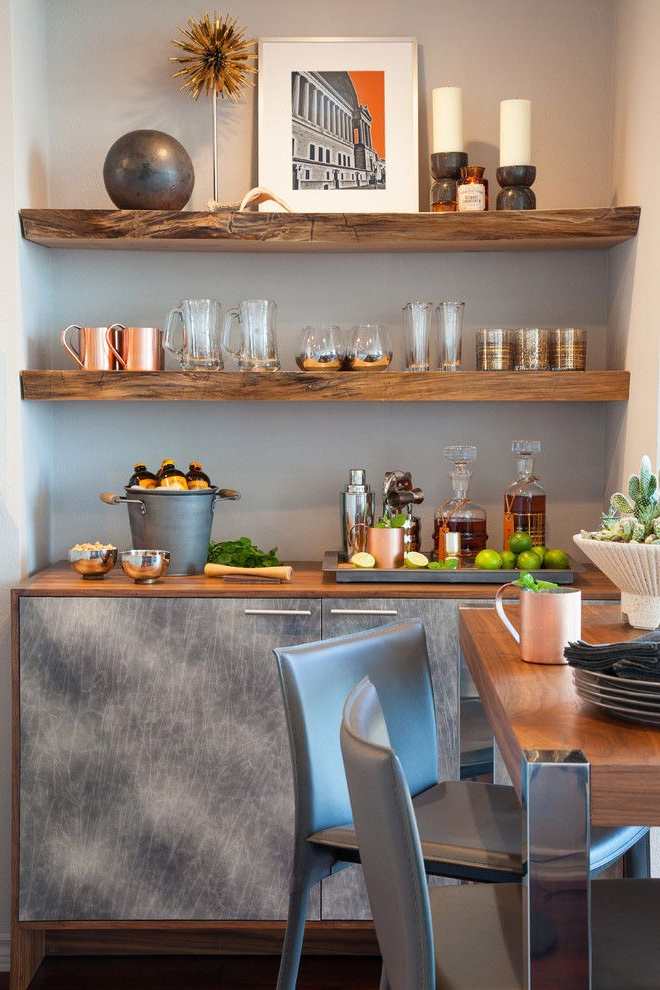 Rustic Built In Shelves Home Bar Contemporary With Drinks