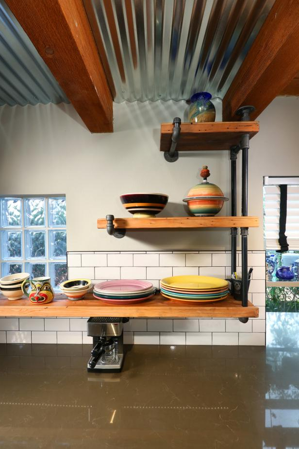 Rustic Industrial Kitchen With Open Shelving Hgtv