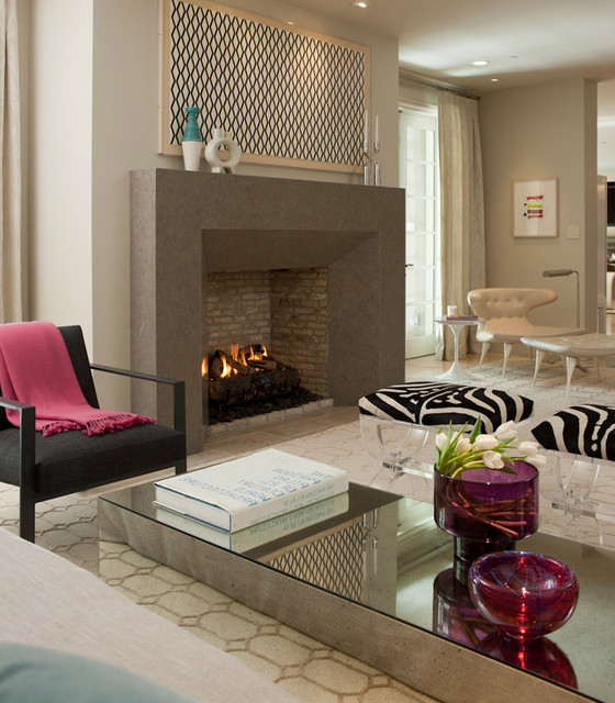 Sleek Fireplace Design Contemporary Living Room San