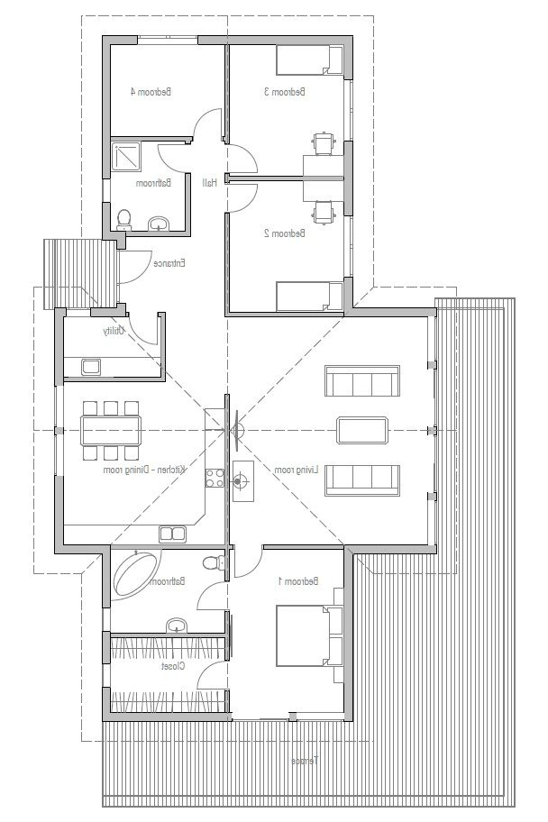 Small House Plan With Four Bedrooms And High Vaulted