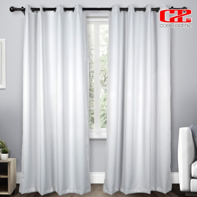 Solid Imitation Silk Blackout Curtains For Living Room