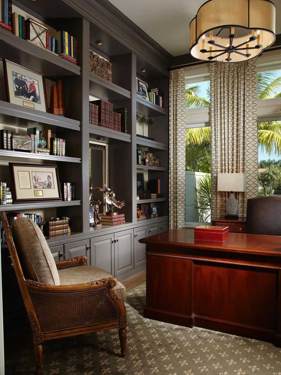 Sophisticated Home Office With Gray Built Ins Home