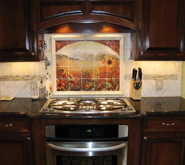 Sunflower Kitchen Backsplashes Tile Murals Kitchen Backsplash Tile Designs Kitchen