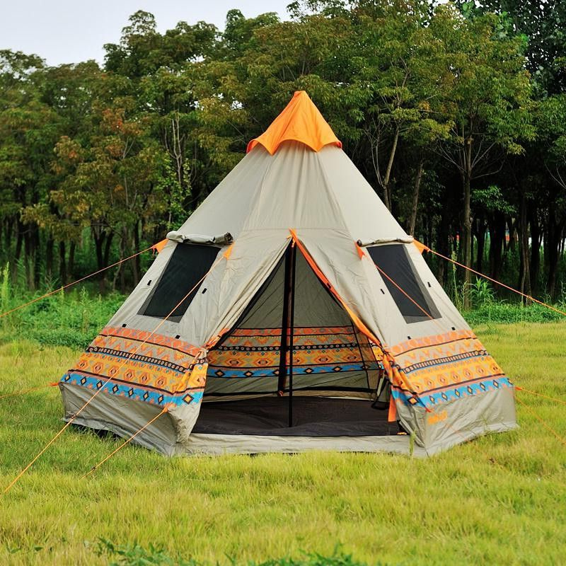 Super Cool Authentic Pyramid Teepee 4 Window Large Outdoor